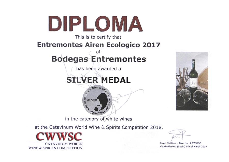 Entremontes Airén Ecológico 2017. Medalla de Plata CWWSC