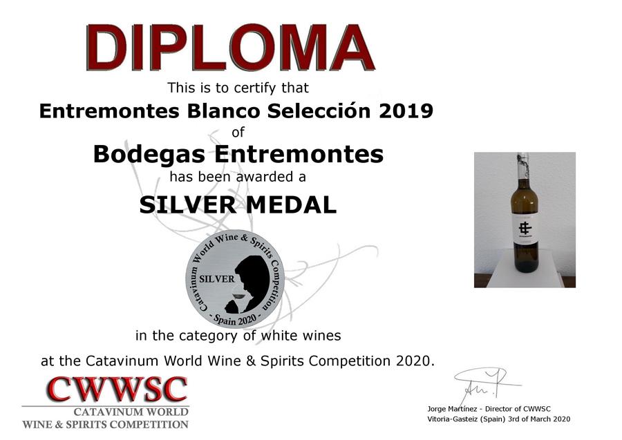 Entremontes Blanco Selección 2017. Medalla de Plata CWWSC 2020