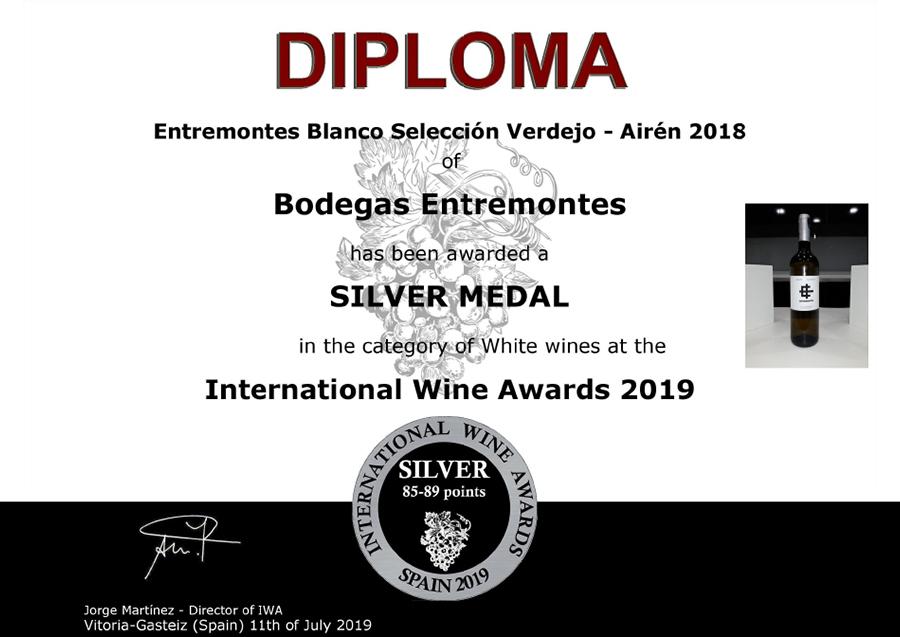 Entremontes Blanco Selección Verdejo - Airén 2018. Medalla de Plata. International Wine Awards 2019