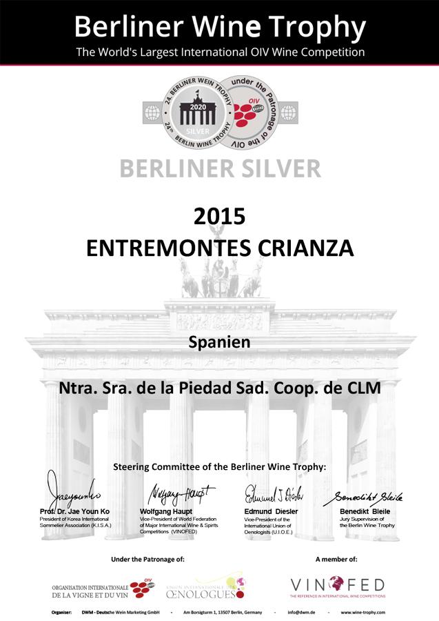 Entremontes Crianza 2015. Medalla PLATA Berliner Wine Trophy 2020