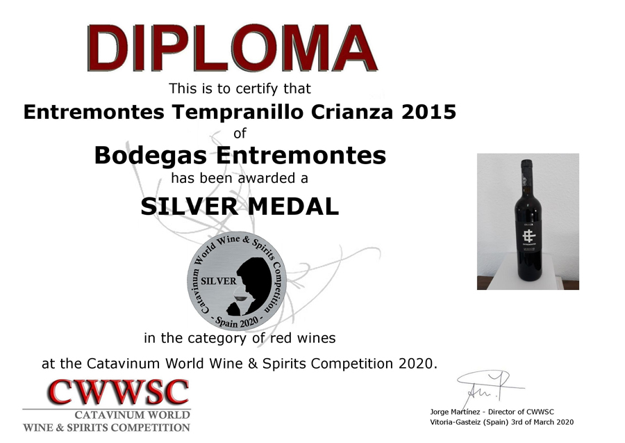 Entremontes Tempranillo Crianza 2015. Medalla de Plata CWWSC 2020