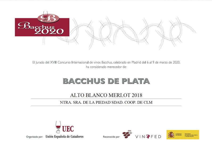 Alto Blanco Merlot 2018. Bacchus de Plata 2020
