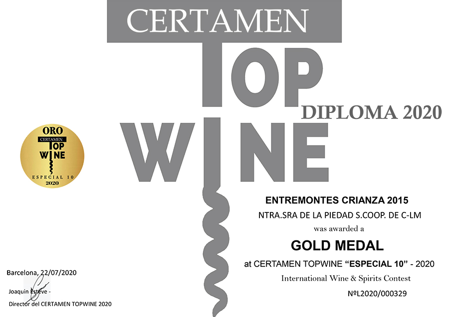 Entremontes Crianza 2015. Medalla de oro. Certamen TOPWINE 2020