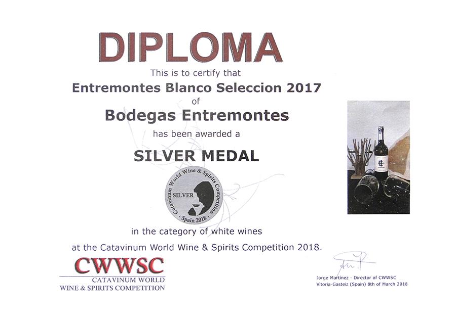 Entremontes Blanco Selección 2017. Medalla de Plata CWWSC