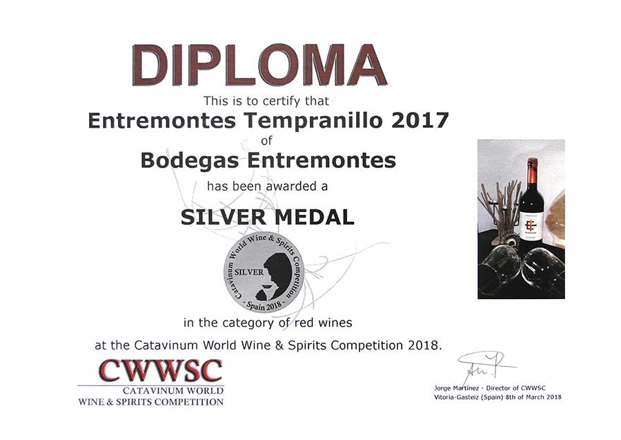 Entremontes Tempranillo 2017. Medalla de Plata CWWSC