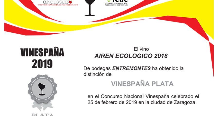 Entremontes Tempranillo Crianza 2018. Distinción VINESPAÑA PLATA