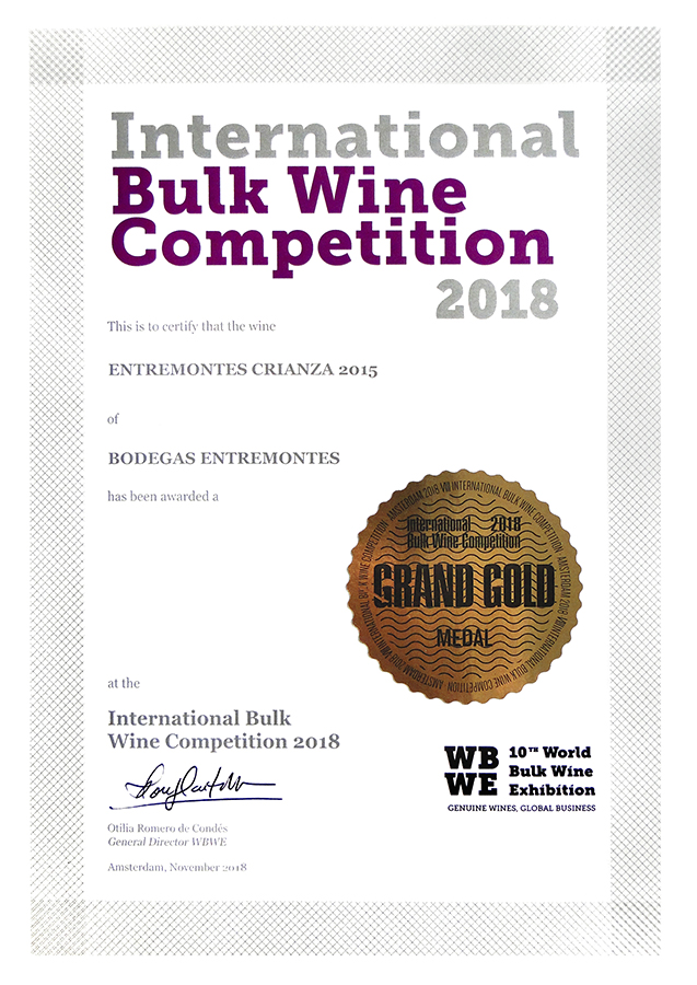 Entremontes Crianza 2015. Medalla de oro International Bilk Wine Competition