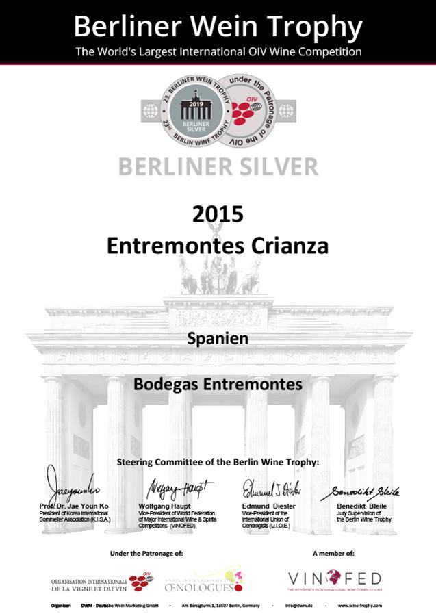 Entremontes Crianza 2015. Medalla PLATA Berliner Wine Trophy 2019