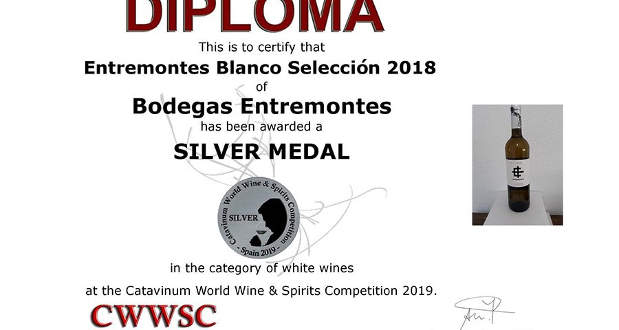 Entremontes Airén Ecológico 2018. Medalla de Plata CWWSC