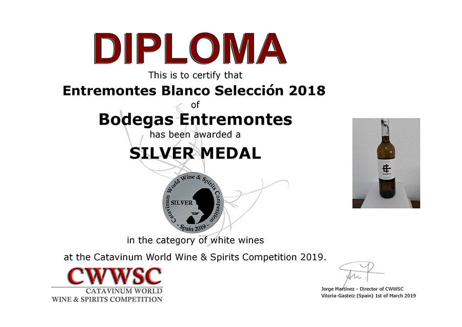 Entremontes Blanco Selección 2018. Medalla de Plata CWWSC