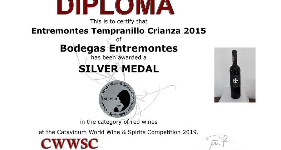 Entremontes Tempranillo Crianza 2015. Medalla de Plata CWWSC
