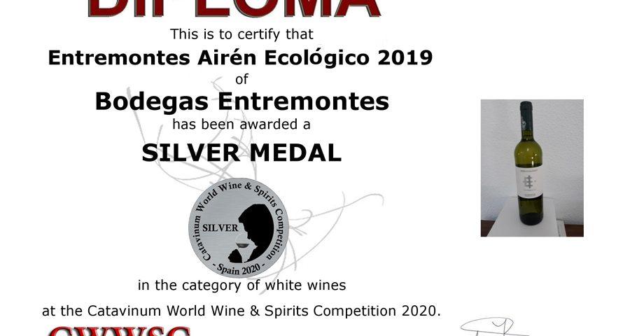 Entremontes Airén Ecológico 2019. Medalla de Plata CWWSC 2020