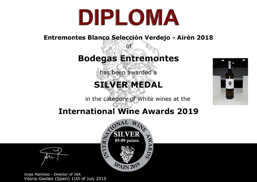 Entremontes Blanco Selección Verdejo - Airén 2018. Medalla de Plata. International Wine Awards 2019