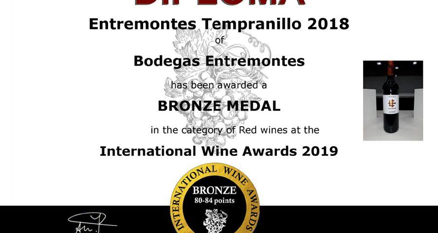Entremontes Tempranillo 2018. Medalla de Bronce. International Wine Awards 2019