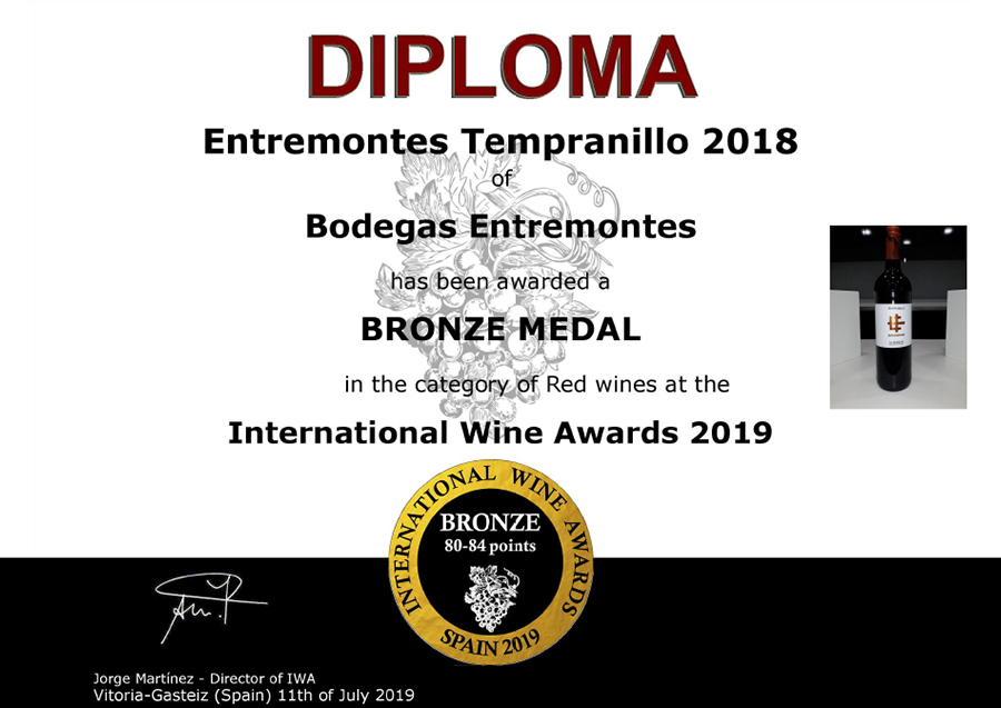 Entremontes Tempranillo 2018. Medalla de Bronce. International Wine Awards 2019