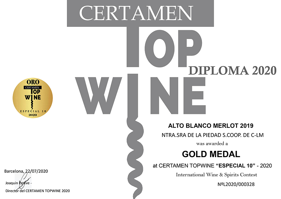 Alto Blanco Merlot 2019. Medalla de oro. Certamen TOPWINE 2020