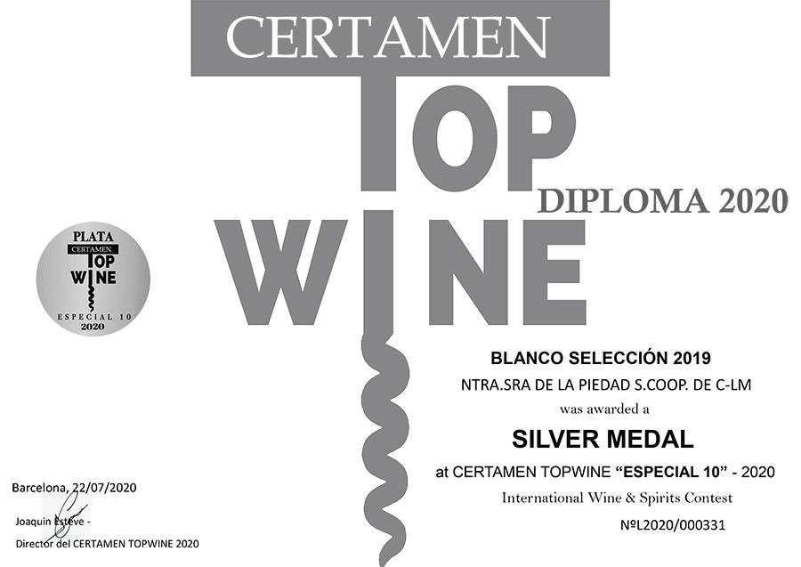 Blanco Selección 2019. Medalla de plata. Certamen TOPWINE 2020