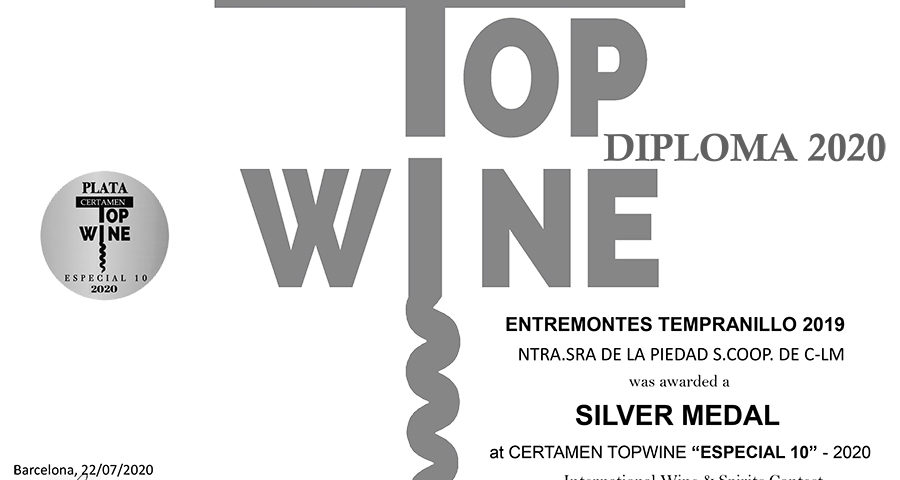 Entremontes Tempranillo 2019. Medalla de plata. Certamen TOPWINE 2020