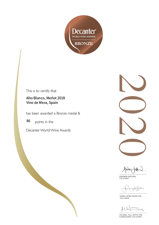 Alto Blanco Merlot 2018. Medalla de bronce. Decanter World Wine Awards