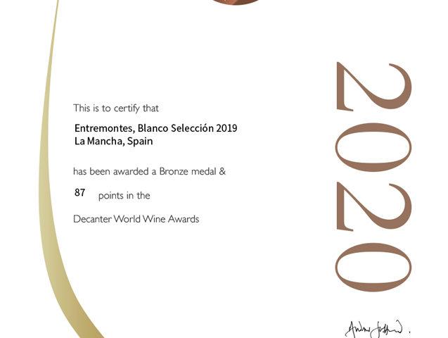 Entremontes Blanco Selección 2019. Medalla de bronce. Decanter World Wine Awards