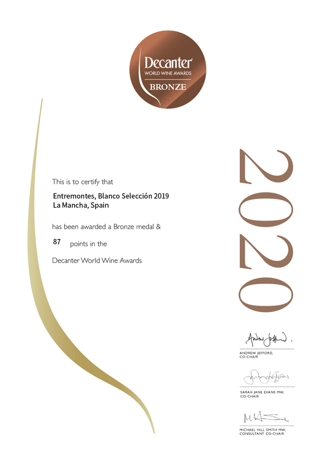 Entremontes Blanco Selección 2019. Medalla de bronce. Decanter World Wine Awards