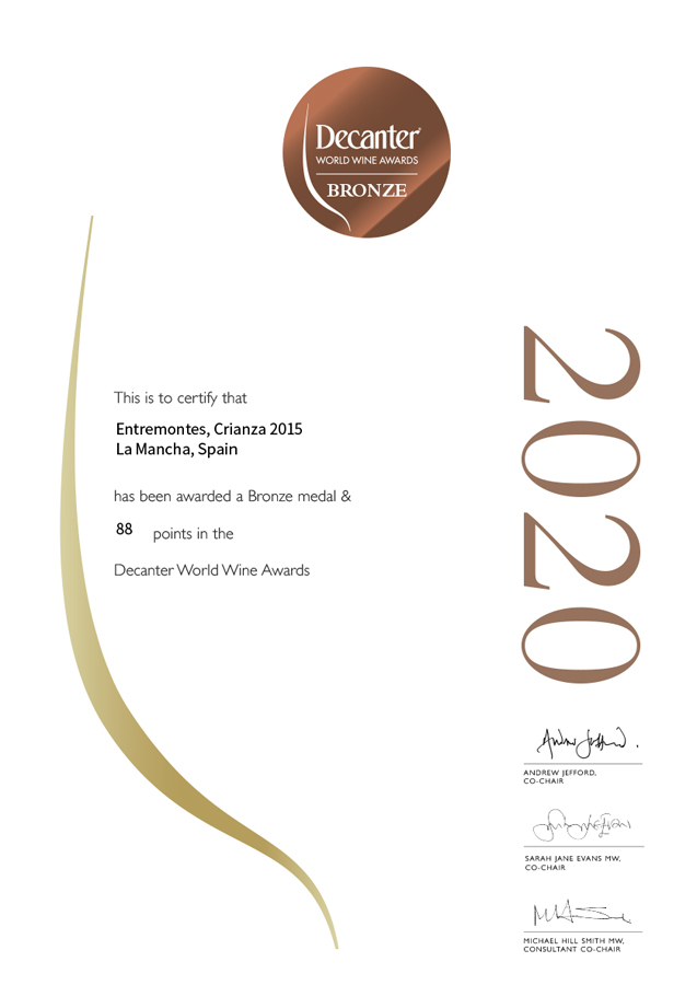 Entremontes Crianza 2015. Medalla de bronce. Decanter World Wine Awards