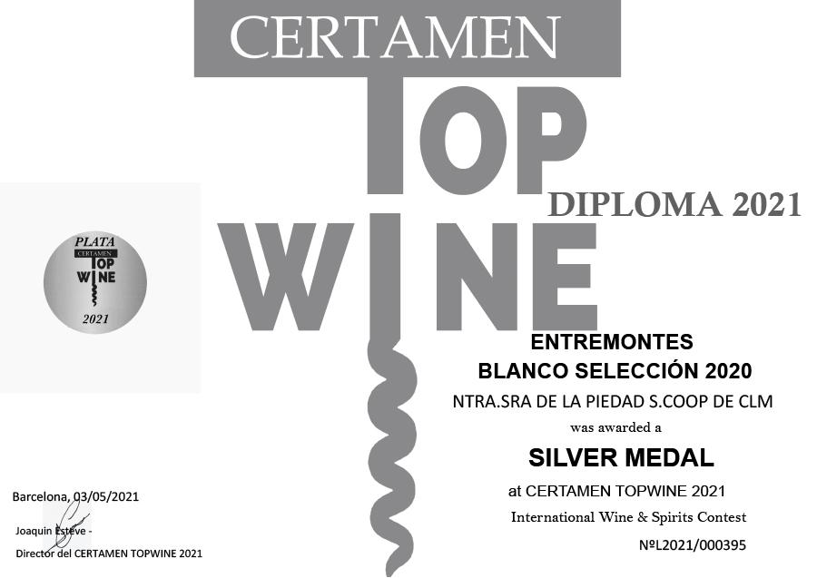 Entremontes Blanco Selección 2020. Medalla de plata. Certamen TOPWINE 2021
