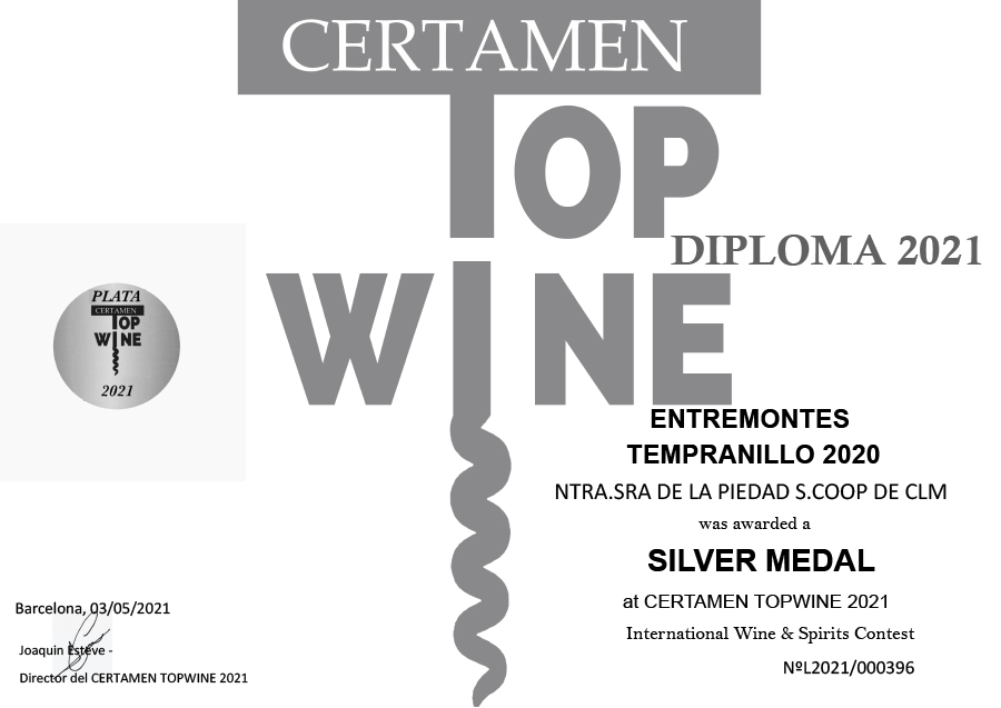Entremontes Tempranillo 2020. Medalla de plata. Certamen TOPWINE 2021