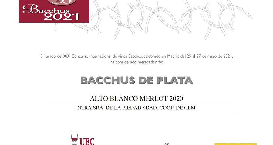 Alto Blanco Merlot 2020. Bacchus de Plata 2021