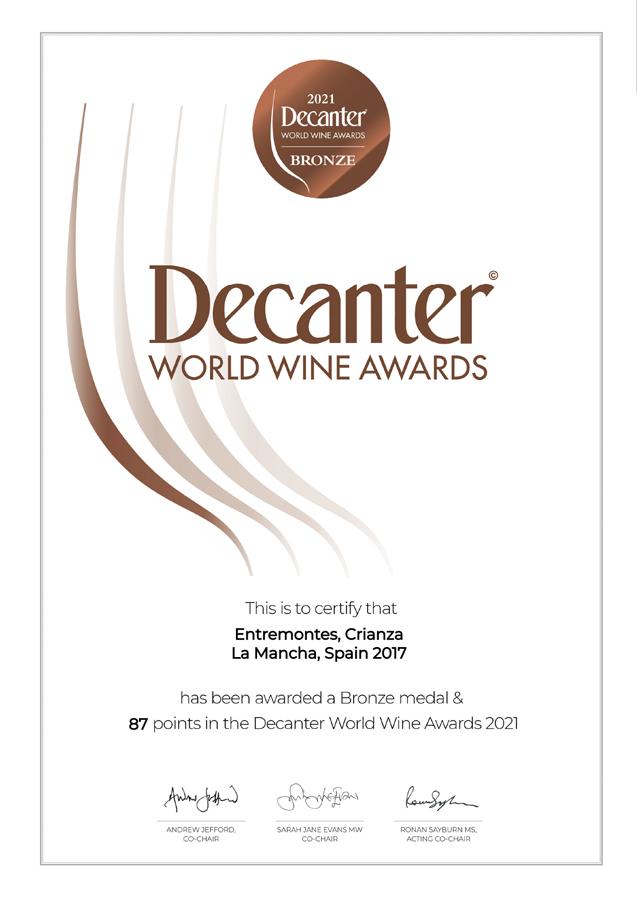 Entremontes Crianza 2017. Medalla BRONCE Decanter World Wine Awards 2021