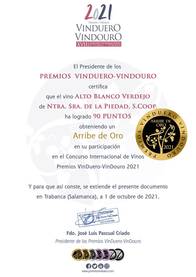 Alto Blanco Verdejo. Arribe de Oro. Premios VinDuero-VinDouro 2021